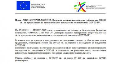 Подкрепа за малки предприятия с оборот над 500 000 лв. за преодоляване на икономическите последствия от пандемията COVID-19